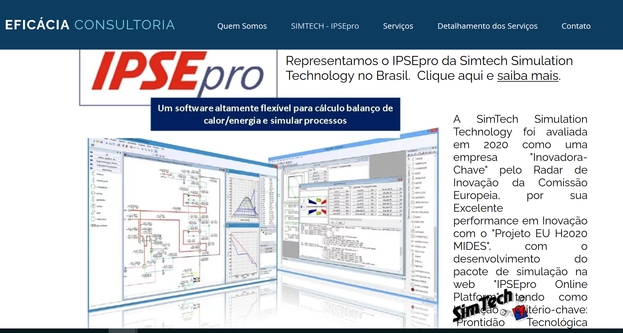 Eficcia announcement about SimTech and IPSEpro